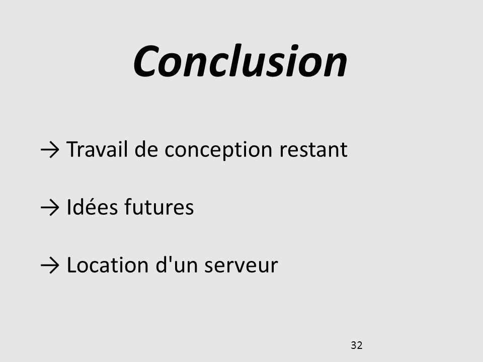 32 Conclusion Travail de conception restant Idées futures Location d'un serveur