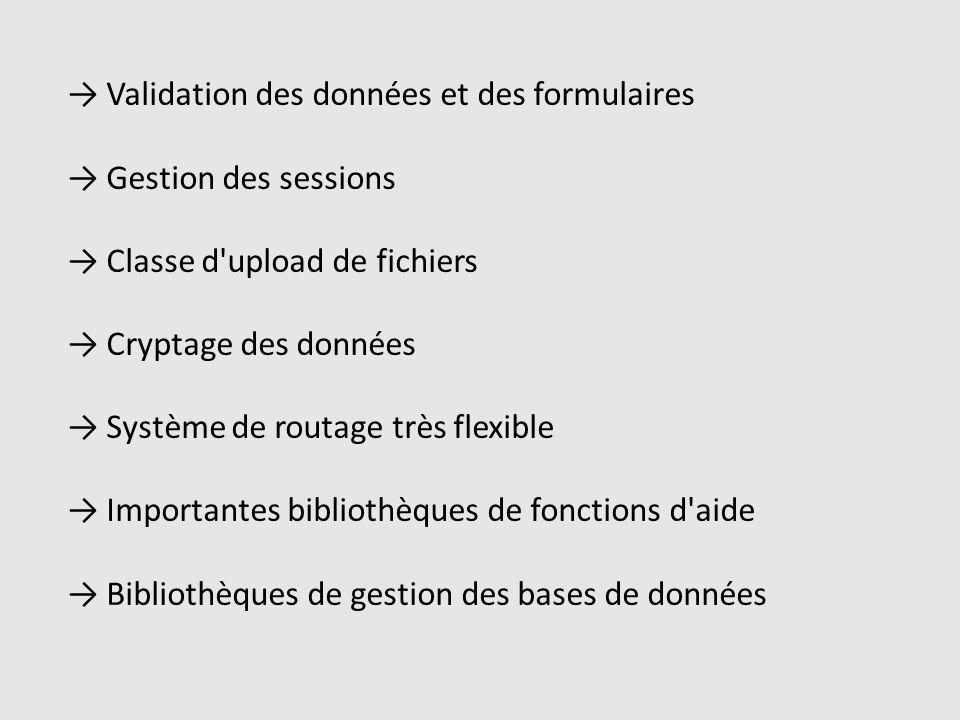 Validation des données et des formulaires Gestion des sessions Classe d upload de fichiers Cryptage des données Système de routage très flexible Importantes bibliothèques de fonctions d aide Bibliothèques de gestion des bases de données
