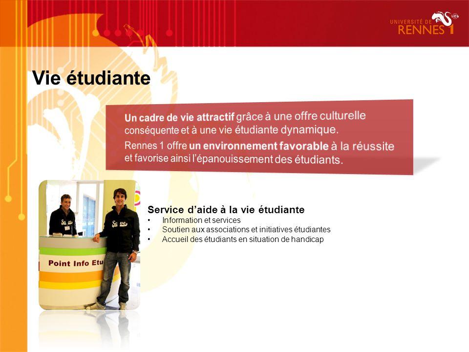 Vie étudiante Service daide à la vie étudiante Information et services Soutien aux associations et initiatives étudiantes Accueil des étudiants en situation de handicap