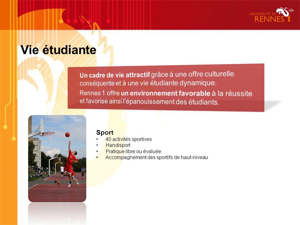 Vie étudiante Sport 40 activités sportives Handisport Pratique libre ou évaluée Accompagnement des sportifs de haut-niveau