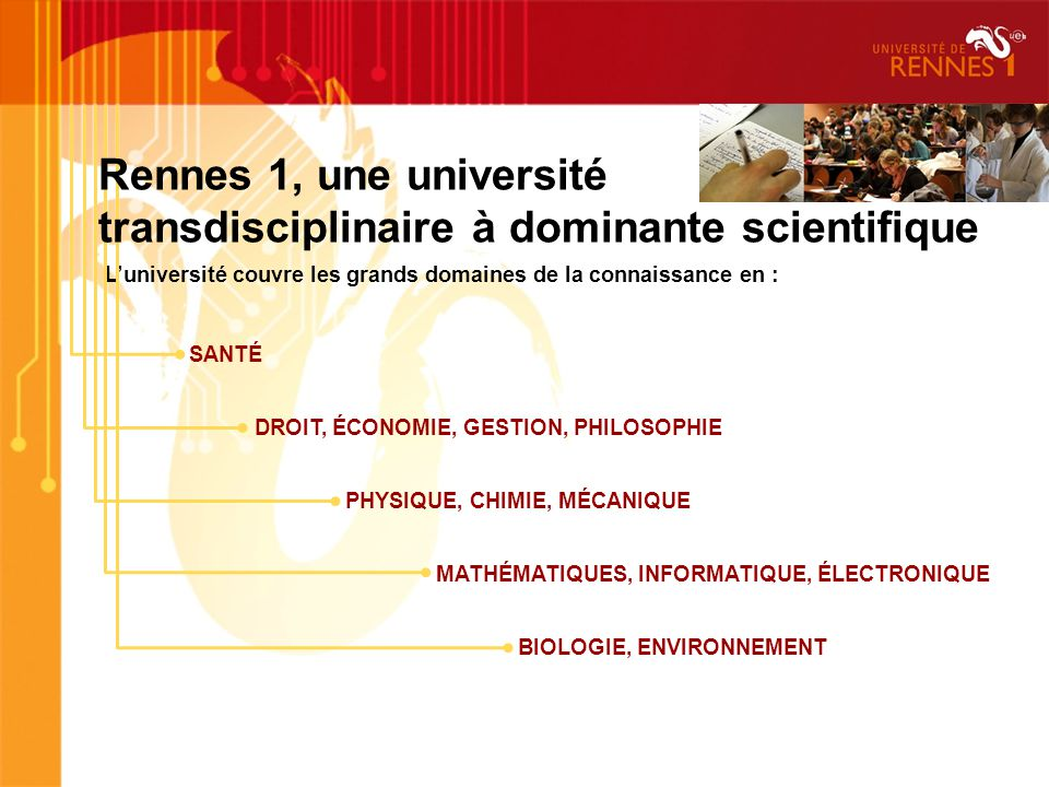 Luniversité couvre les grands domaines de la connaissance en : SANTÉ DROIT, ÉCONOMIE, GESTION, PHILOSOPHIE PHYSIQUE, CHIMIE, MÉCANIQUE MATHÉMATIQUES, INFORMATIQUE, ÉLECTRONIQUE BIOLOGIE, ENVIRONNEMENT Rennes 1, une université transdisciplinaire à dominante scientifique