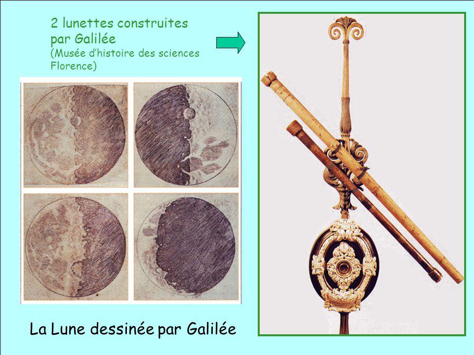 Galilée (1564 – 1642) 2 lunettes construites par Galilée (Musée dhistoire des sciences Florence) La Lune dessinée par Galilée