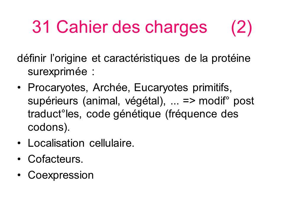 31 Cahier des charges(2) définir lorigine et caractéristiques de la protéine surexprimée : Procaryotes, Archée, Eucaryotes primitifs, supérieurs (animal, végétal),...