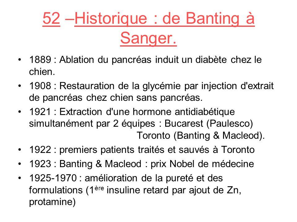 52 –Historique : de Banting à Sanger.1889 : Ablation du pancréas induit un diabète chez le chien.