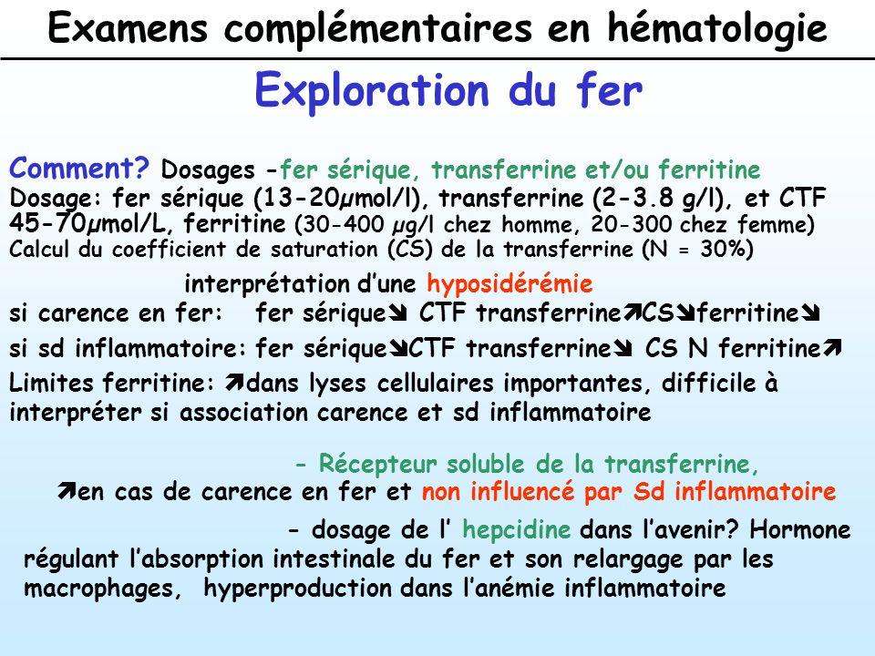 Examens complémentaires en hématologie Exploration du fer Comment.