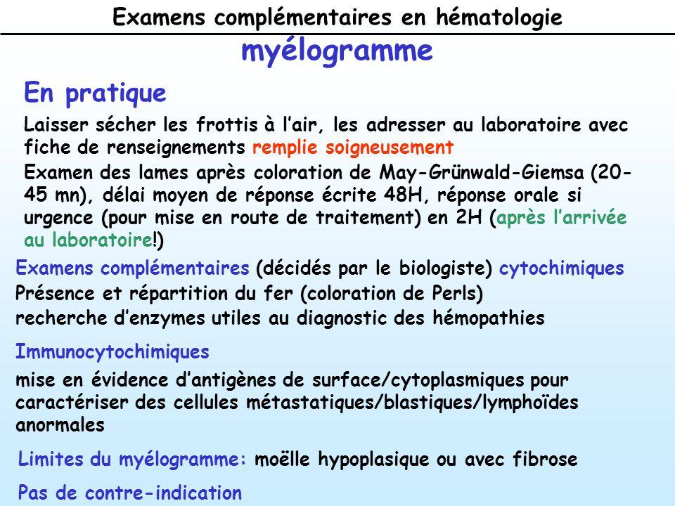 Examens complémentaires en hématologie myélogramme En pratique Laisser sécher les frottis à lair, les adresser au laboratoire avec fiche de renseignements remplie soigneusement Examen des lames après coloration de May-Grünwald-Giemsa (20- 45 mn), délai moyen de réponse écrite 48H, réponse orale si urgence (pour mise en route de traitement) en 2H (après larrivée au laboratoire!) Examens complémentaires (décidés par le biologiste) cytochimiques Présence et répartition du fer (coloration de Perls) recherche denzymes utiles au diagnostic des hémopathies Immunocytochimiques mise en évidence dantigènes de surface/cytoplasmiques pour caractériser des cellules métastatiques/blastiques/lymphoïdes anormales Limites du myélogramme: moëlle hypoplasique ou avec fibrose Pas de contre-indication
