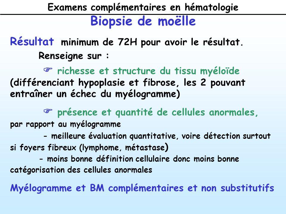 Examens complémentaires en hématologie Biopsie de moëlle Résultat minimum de 72H pour avoir le résultat.