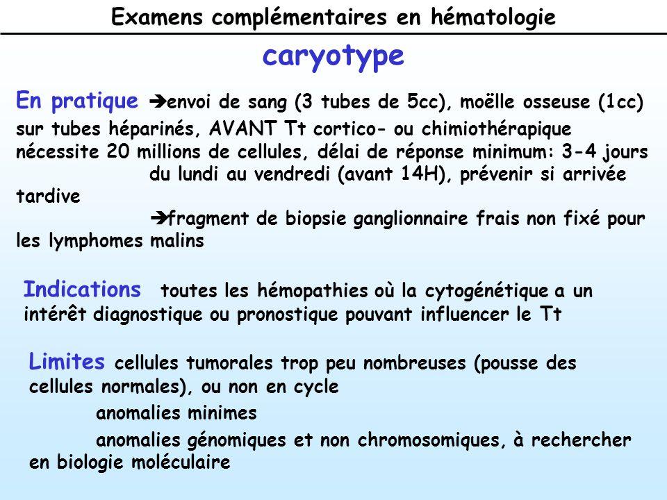 Examens complémentaires en hématologie caryotype En pratique envoi de sang (3 tubes de 5cc), moëlle osseuse (1cc) sur tubes héparinés, AVANT Tt cortico- ou chimiothérapique nécessite 20 millions de cellules, délai de réponse minimum: 3-4 jours du lundi au vendredi (avant 14H), prévenir si arrivée tardive fragment de biopsie ganglionnaire frais non fixé pour les lymphomes malins Indications toutes les hémopathies où la cytogénétique a un intérêt diagnostique ou pronostique pouvant influencer le Tt Limites cellules tumorales trop peu nombreuses (pousse des cellules normales), ou non en cycle anomalies minimes anomalies génomiques et non chromosomiques, à rechercher en biologie moléculaire