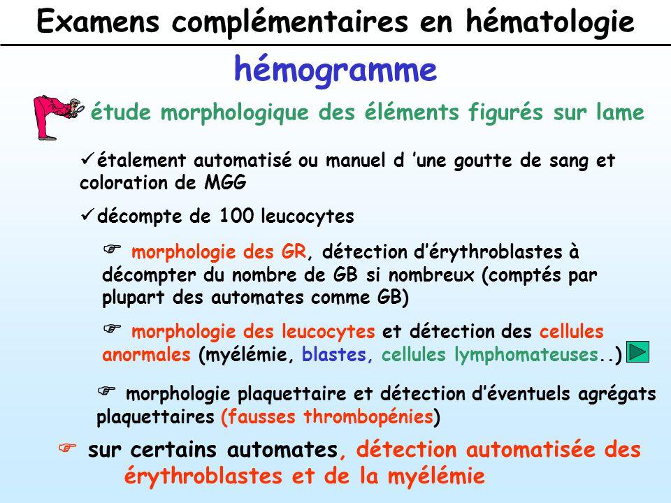 Examens complémentaires en hématologie hémogramme Numération globulaire normale en fonction de l âge et du sexe HommeFemme Enfant NourrissonNouveau-né 3-12ans3 mois-1an Nombre de GR 10 12 /l4.5-5.84-5.43.6-5.5 3.2-4.23.9-5.5 Hb (g/dl)13-1812.1611-15 10-12.513.5-19.5 VGM (fl)83-9883-9876-93 72-8598-118 TGMH (pg)27-3227-3224-32 25-3430-36 Hématocrite (l/l)40-5435-4736-44 30-4142-62 CCMH (g/dl)32-3632-3632-36 32-3632-36 Nombre de GB 10 9 /l4-104-104.5-12 6-1710-25 neutrophiles1.8-71.8-71.5-8 1-8.76-25 éosinophiles0.05-0.50.05-0.50.05-0.7 0.05-0.70.05-0.6 basophiles0-0.050-0.050-0.05 0-0.050-0.05 lymphocytes1.5-41.5-41.5-6.5 3.5-162-15 monocytes0.1-0.90.1-0.90.1-0.6 0.1-0.80.1-1.5 Plaquettes 10 9 /l 150-500150-500150-450 150-600150-600