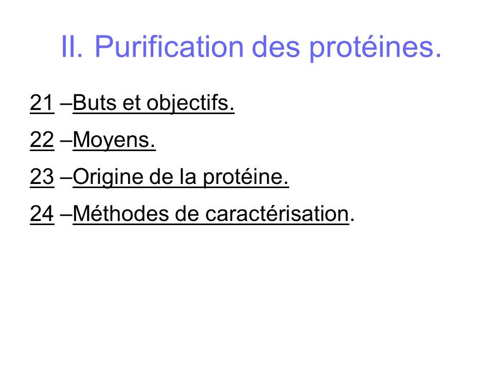 II. Purification des protéines. 21 –Buts et objectifs. 22 –Moyens. 23 –Origine de la protéine. 24 –Méthodes de caractérisation.