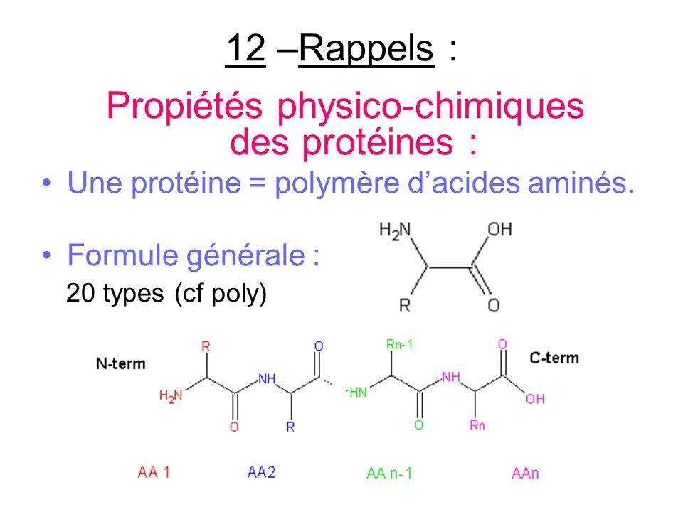 12 –Rappels : Propiétés physico-chimiques des protéines : Une protéine = polymère dacides aminés. Formule générale : 20 types (cf poly)