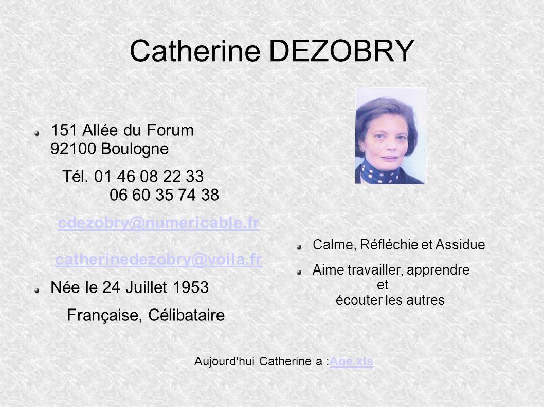 Catherine DEZOBRY 151 Allée du Forum 92100 Boulogne Tél.