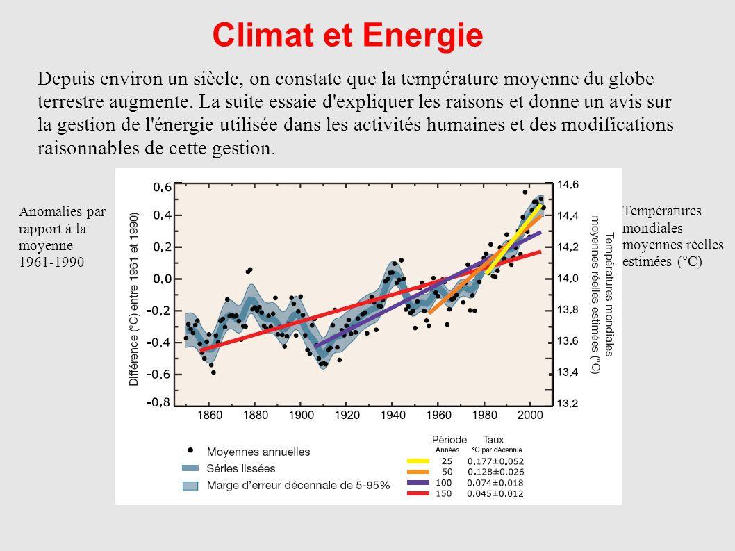 Climat et Energie Depuis environ un siècle, on constate que la température moyenne du globe terrestre augmente. La suite essaie d'expliquer les raison