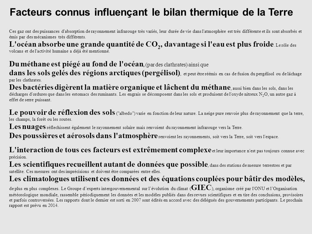 Facteurs connus influençant le bilan thermique de la Terre Ces gaz ont des puissances d'absorption de rayonnement infrarouge très variés, leur durée d