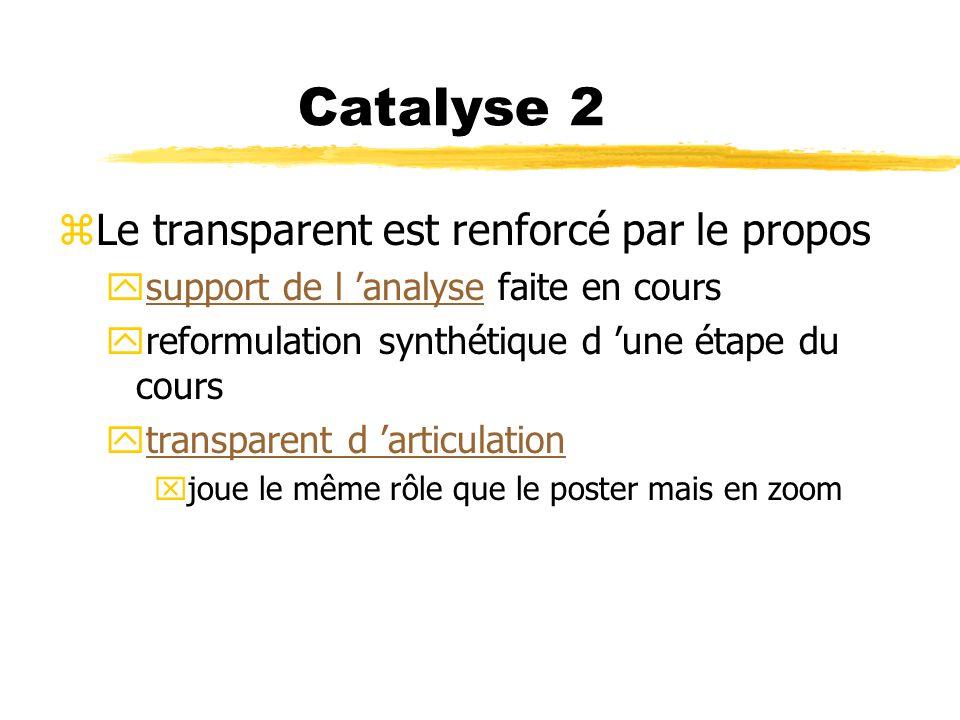 Catalyse 2 zLe transparent est renforcé par le propos ysupport de l analyse faite en courssupport de l analyse yreformulation synthétique d une étape