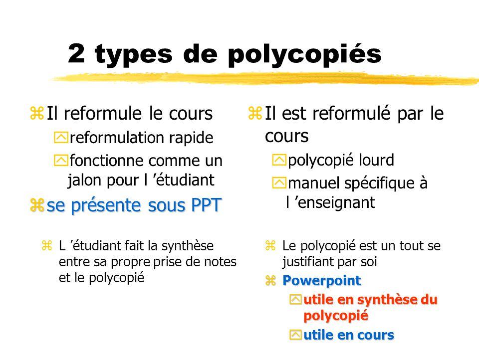 2 types de polycopiés zIl reformule le cours yreformulation rapide yfonctionne comme un jalon pour l étudiant zse présente sous PPT z Il est reformulé