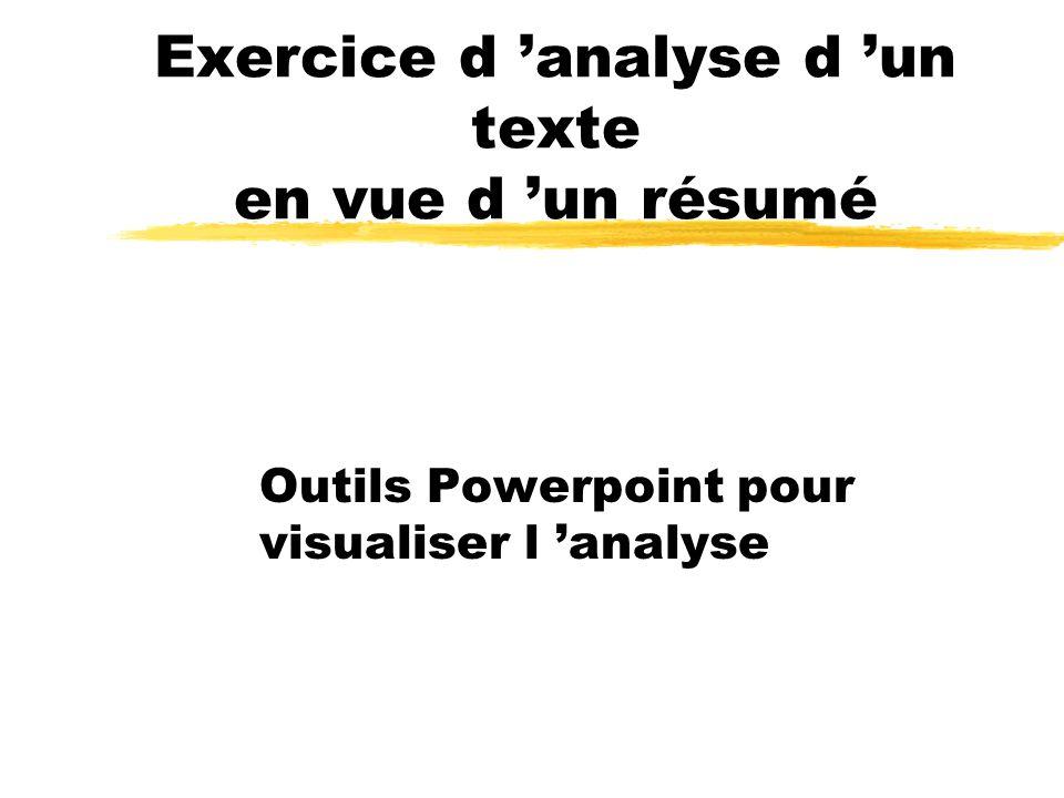 Exercice d analyse d un texte en vue d un résumé Outils Powerpoint pour visualiser l analyse