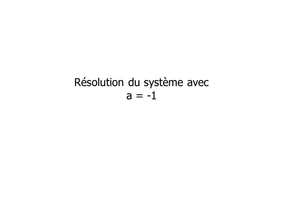 Résolution du système avec a = -1