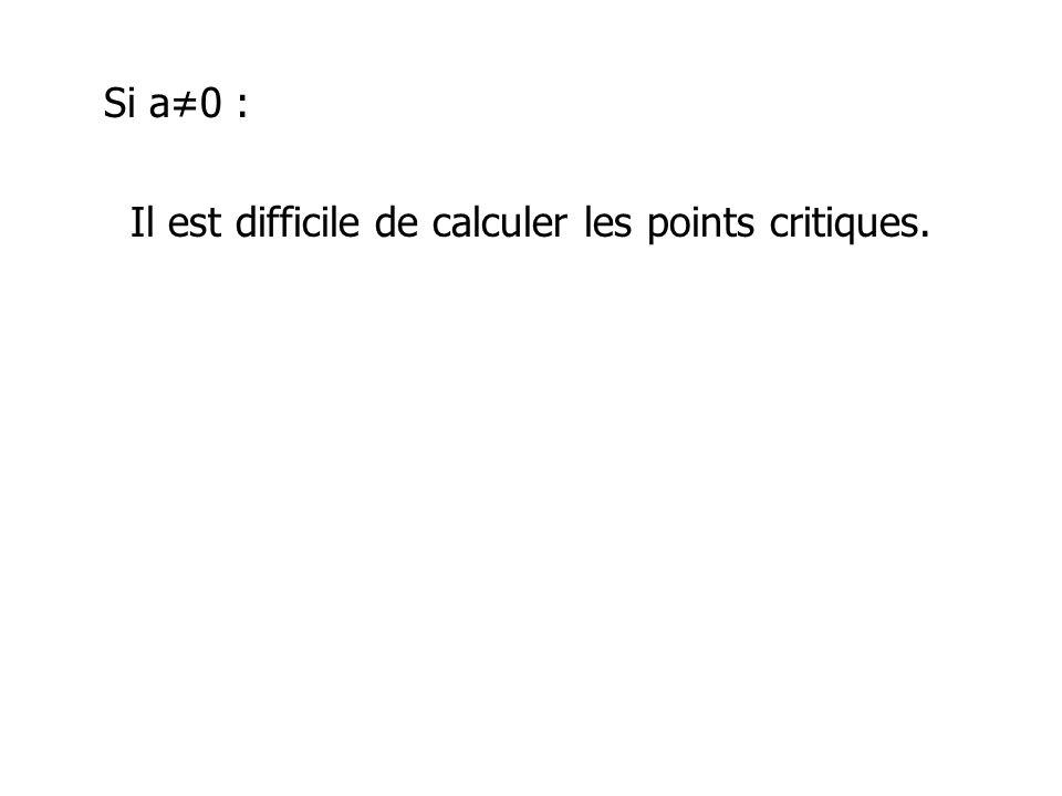 Si a0 : Il est difficile de calculer les points critiques.
