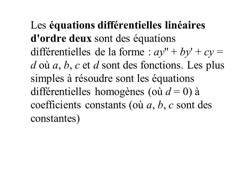 Les équations différentielles linéaires d'ordre deux sont des équations différentielles de la forme : ay'' + by' + cy = d où a, b, c et d sont des fon