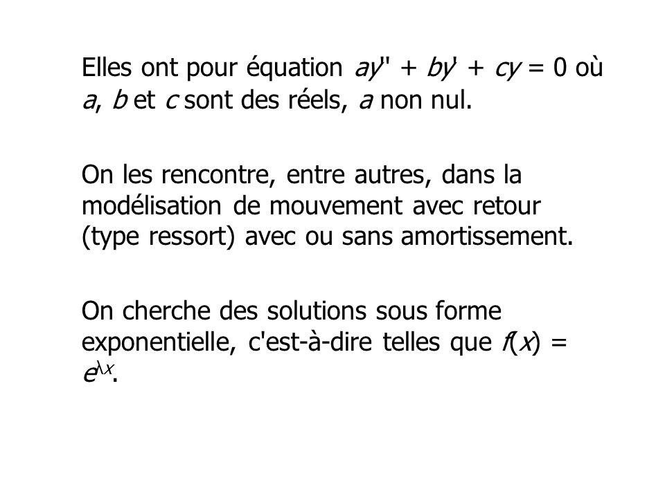 Elles ont pour équation ay'' + by' + cy = 0 où a, b et c sont des réels, a non nul. On les rencontre, entre autres, dans la modélisation de mouvement