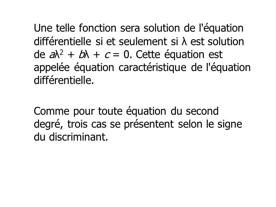 Une telle fonction sera solution de l'équation différentielle si et seulement si λ est solution de aλ 2 + bλ + c = 0. Cette équation est appelée équat