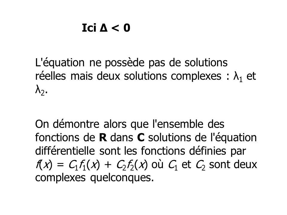 Ici Δ < 0 L'équation ne possède pas de solutions réelles mais deux solutions complexes : λ 1 et λ 2. On démontre alors que l'ensemble des fonctions de