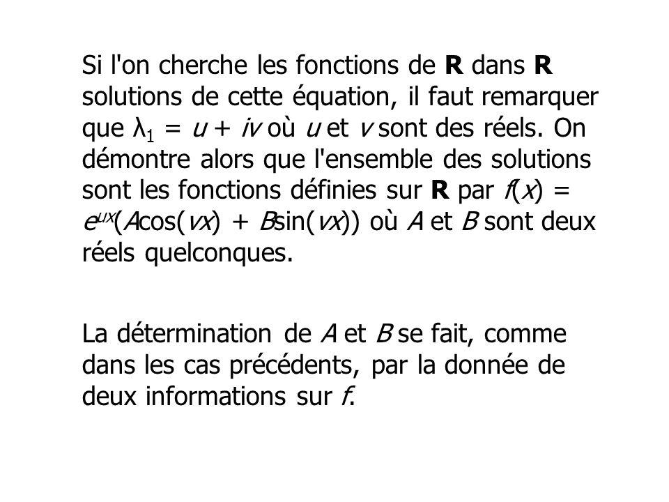 Si l'on cherche les fonctions de R dans R solutions de cette équation, il faut remarquer que λ 1 = u + iv où u et v sont des réels. On démontre alors