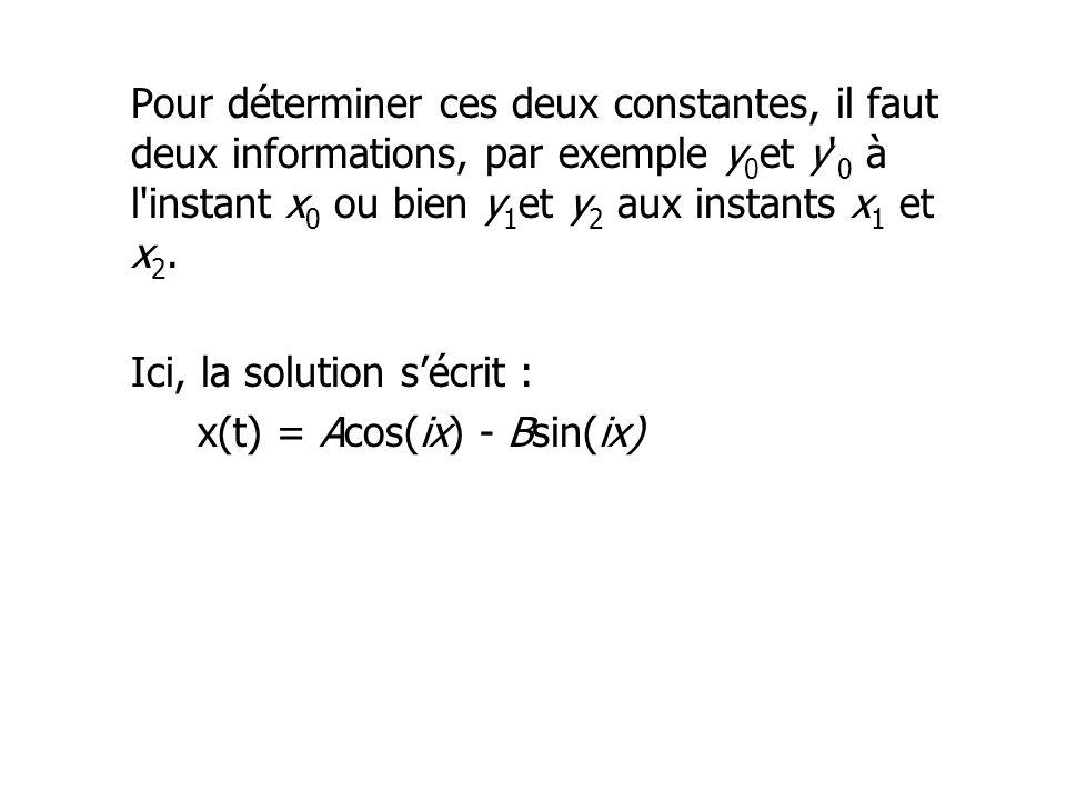 Pour déterminer ces deux constantes, il faut deux informations, par exemple y 0 et y' 0 à l'instant x 0 ou bien y 1 et y 2 aux instants x 1 et x 2. Ic