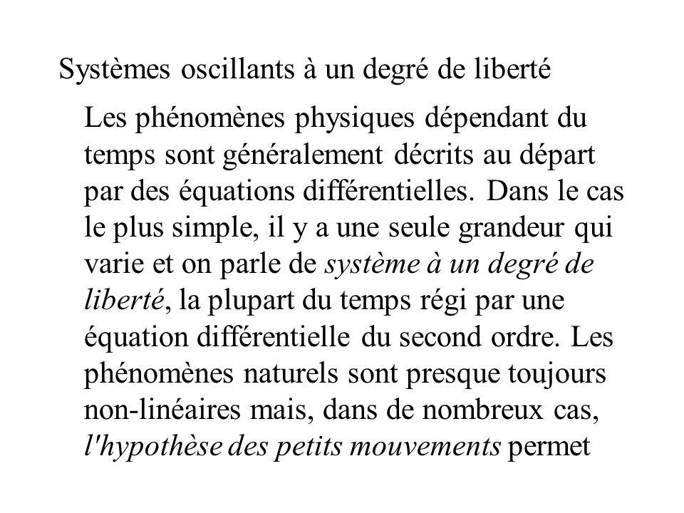 Systèmes oscillants à un degré de liberté Les phénomènes physiques dépendant du temps sont généralement décrits au départ par des équations différenti