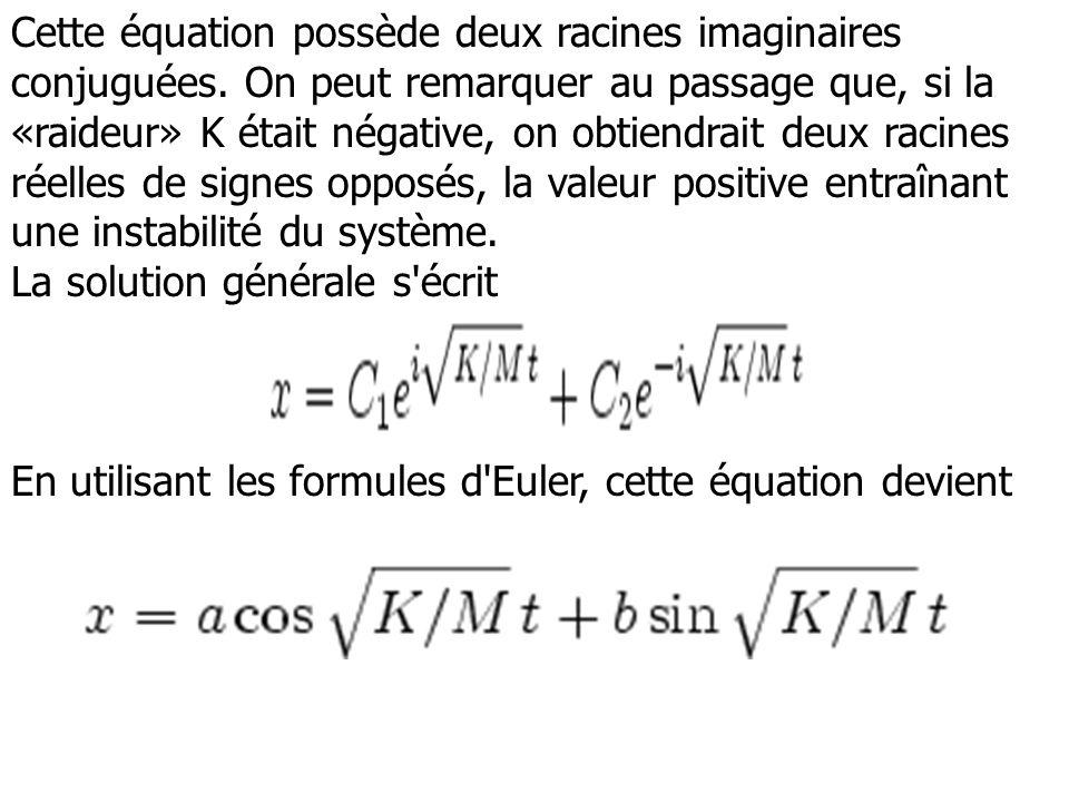 Cette équation possède deux racines imaginaires conjuguées. On peut remarquer au passage que, si la «raideur» K était négative, on obtiendrait deux ra