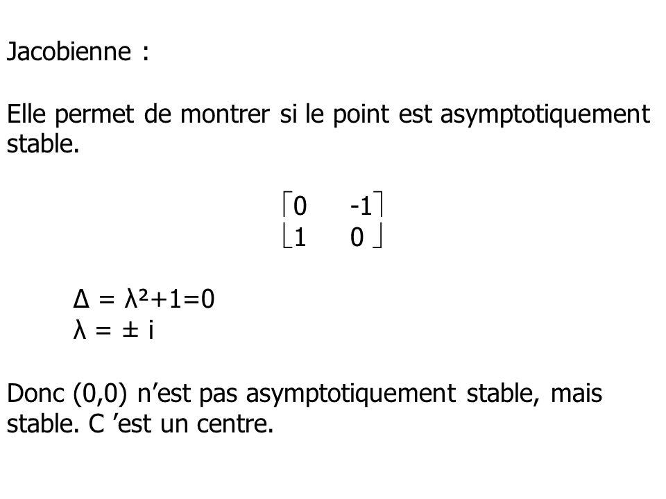 Jacobienne : Elle permet de montrer si le point est asymptotiquement stable. 0-1 10 = λ²+1=0 λ = ± i Donc (0,0) nest pas asymptotiquement stable, mais