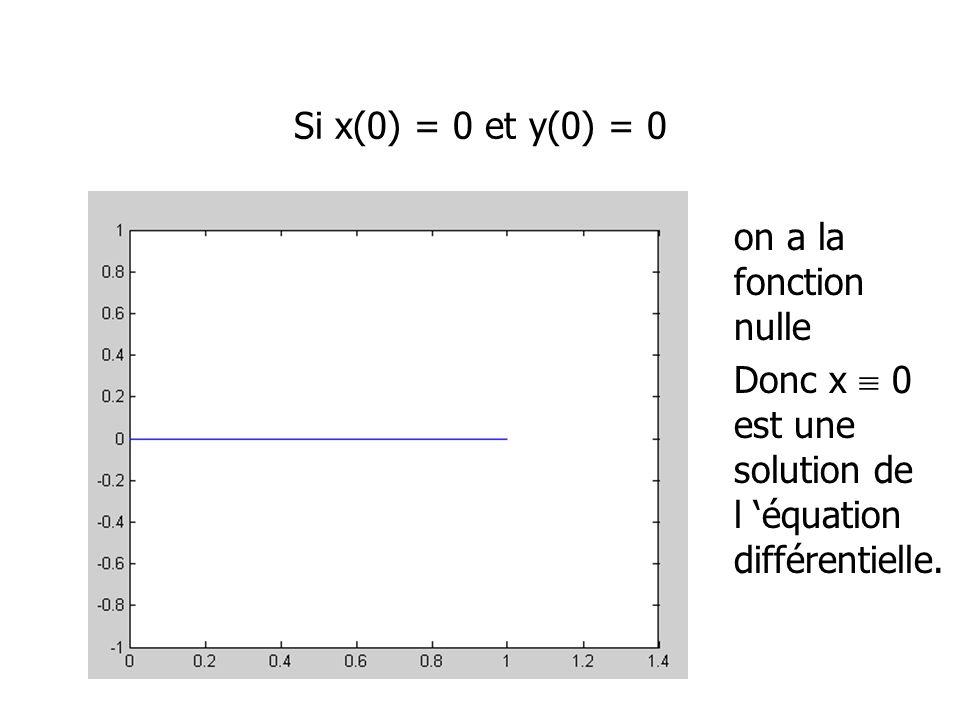Si x(0) = 0 et y(0) = 0 on a la fonction nulle Donc x 0 est une solution de l équation différentielle.