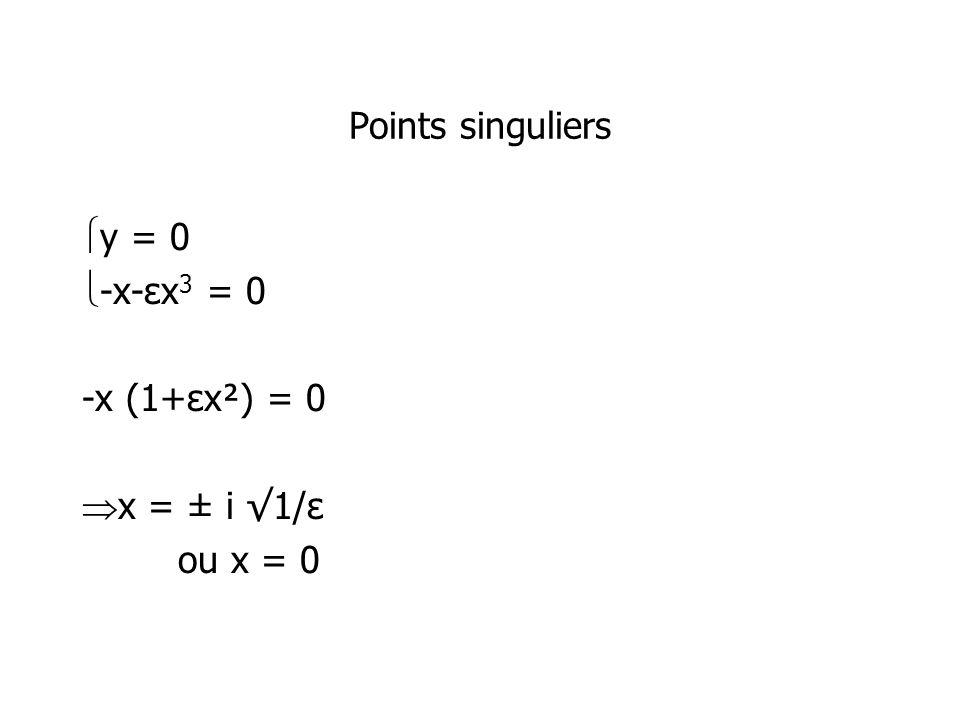 Points singuliers y = 0 -x-εx 3 = 0 -x (1+εx²) = 0 x = ± i 1/ε ou x = 0