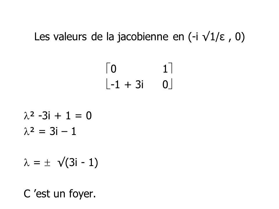 Les valeurs de la jacobienne en (-i 1/ε, 0) 01 -1 + 3i0 ² -3i + 1 = 0 ² = 3i – 1 = (3i - 1) C est un foyer.