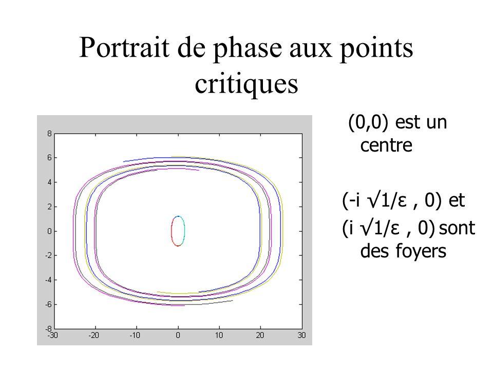 Portrait de phase aux points critiques (0,0) est un centre (-i 1/ε, 0) et (i 1/ε, 0) sont des foyers