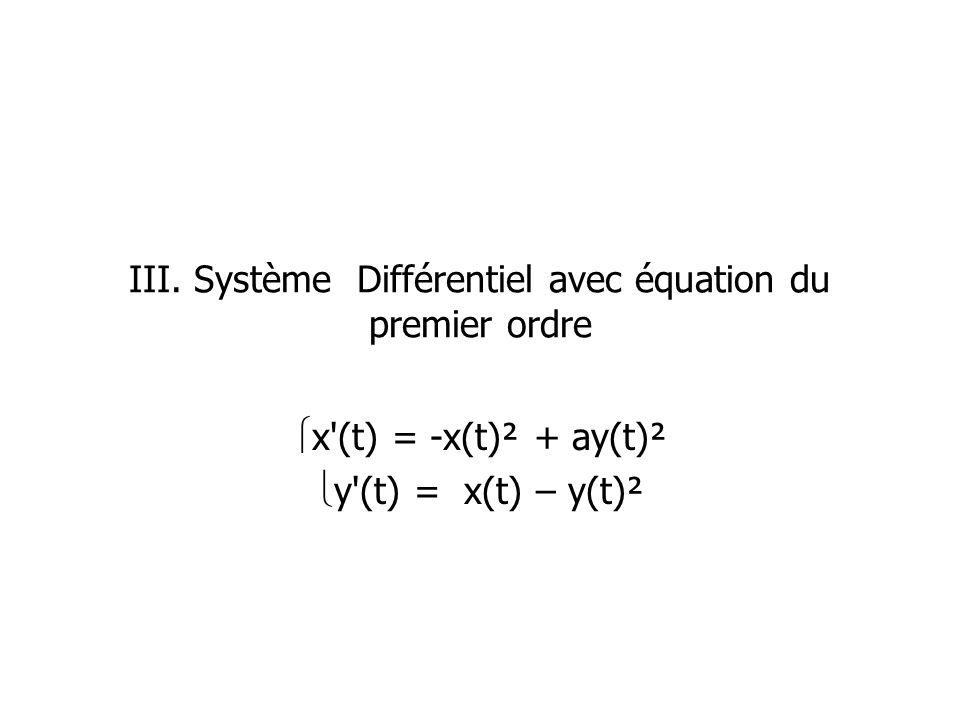 III. Système Différentiel avec équation du premier ordre x'(t) = -x(t)² + ay(t)² y'(t) = x(t) – y(t)²