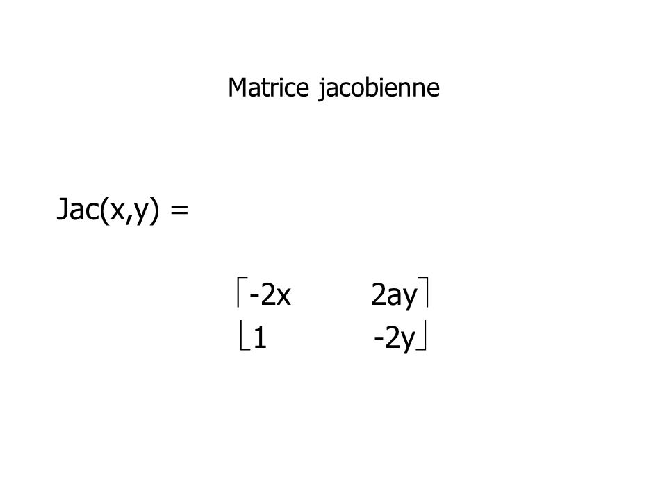 Matrice jacobienne Jac(x,y) = -2x2ay 1-2y