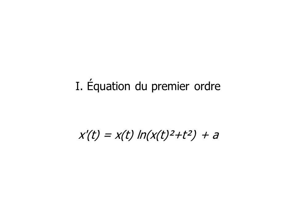 I. Équation du premier ordre x'(t) = x(t) ln(x(t)²+t²) + a