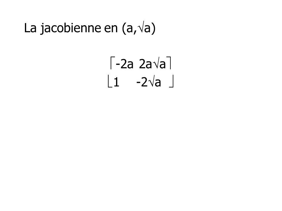 La jacobienne en (a, a) -2a2a a 1-2 a