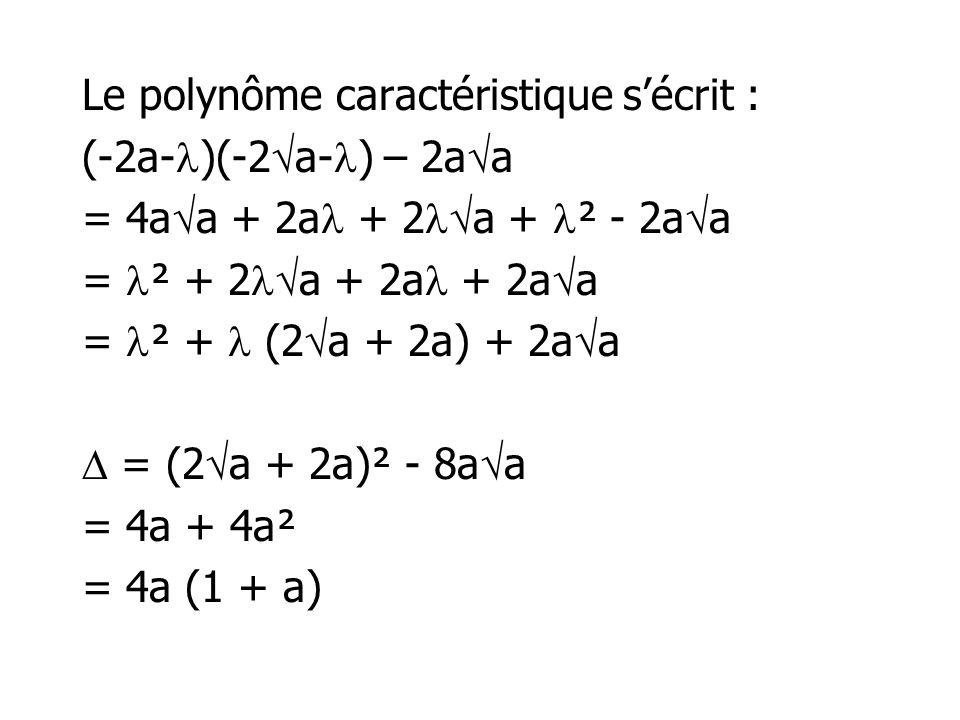 Le polynôme caractéristique sécrit : (-2a- )(-2 a- ) – 2a a = 4a a + 2a + 2 a + ² - 2a a = ² + 2 a + 2a + 2a a = ² + (2 a + 2a) + 2a a = (2 a + 2a)² -