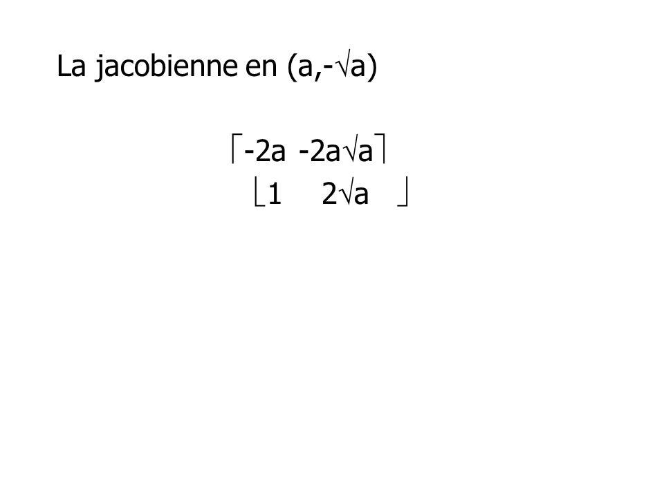 La jacobienne en (a,- a) -2a-2a a 12 a
