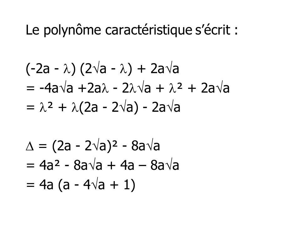 Le polynôme caractéristique sécrit : (-2a - ) (2 a - ) + 2a a = -4a a +2a - 2 a + ² + 2a a = ² + (2a - 2 a) - 2a a = (2a - 2 a)² - 8a a = 4a² - 8a a +