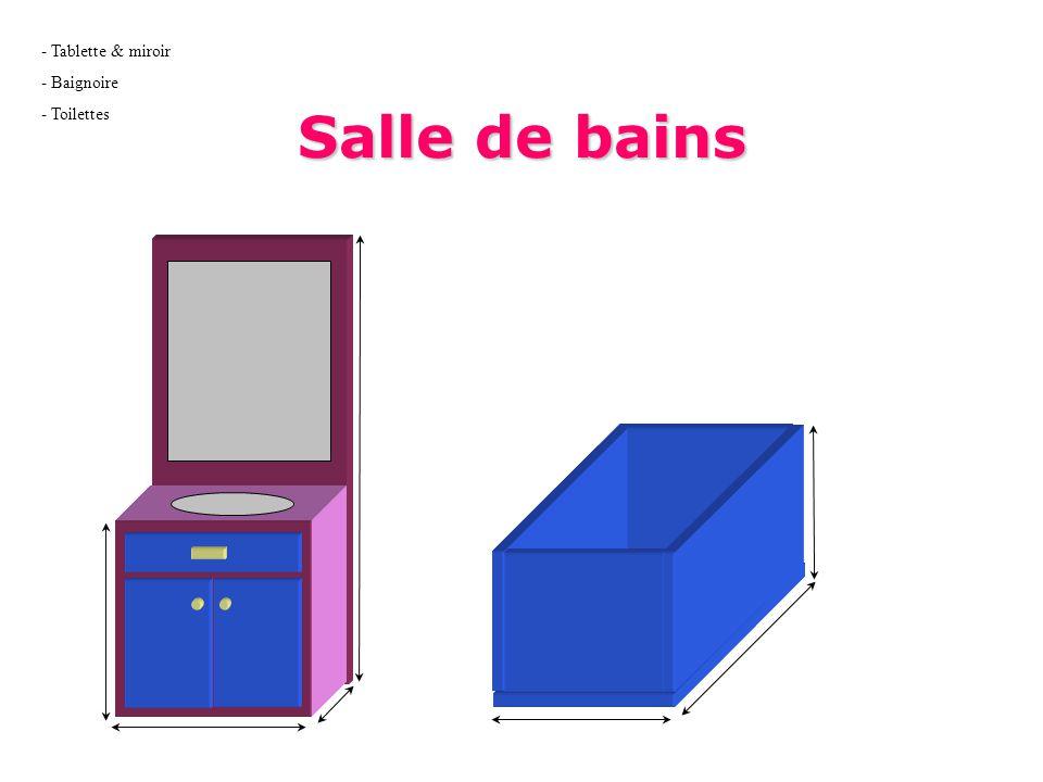 Salle de bains - Tablette & miroir - Baignoire - Toilettes