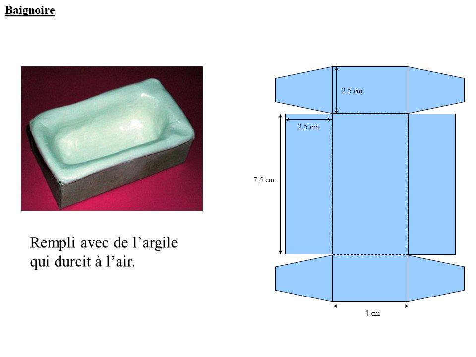 Baignoire 7,5 cm 2,5 cm 4 cm Rempli avec de largile qui durcit à lair. 2,5 cm
