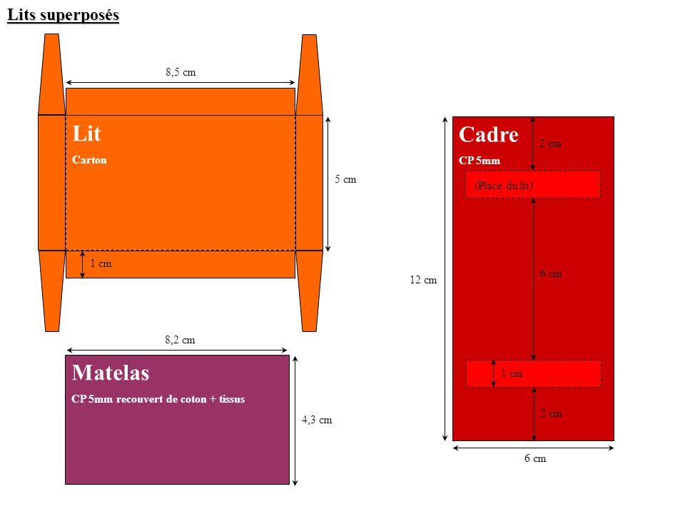 Lits superposés 8,2 cm 2 cm 6 cm 8,5 cm 2 cm 1 cm 12 cm 5 cm 4,3 cm Matelas CP 5mm recouvert de coton + tissus Lit Carton Cadre CP 5mm (Place du lit) 1 cm