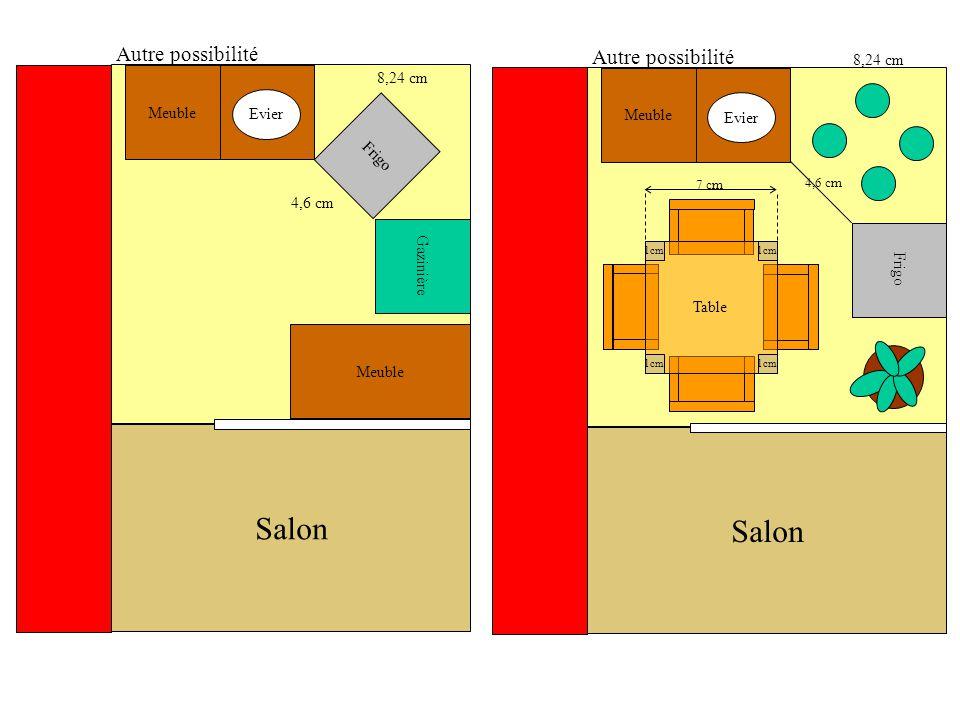 Autre possibilité Meuble Frigo 4,6 cm 8,24 cm Autre possibilité Meuble Frigo Gazinière 4,6 cm 8,24 cm Meuble Table 1cm 7 cm Salon Evier