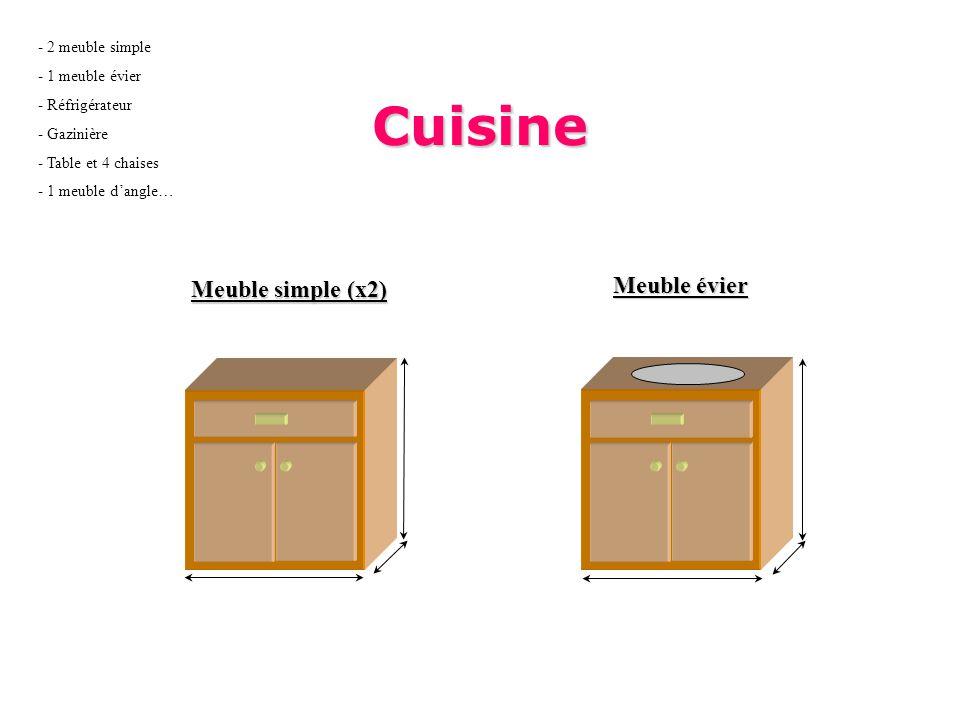 Cuisine Meuble simple (x2) Meuble évier - 2 meuble simple - 1 meuble évier - Réfrigérateur - Gazinière - Table et 4 chaises - 1 meuble dangle…