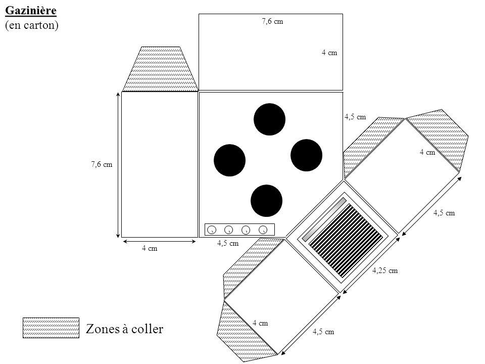 Gazinière (en carton) Zones à coller 4 cm 7,6 cm 4 cm 4,5 cm 4 cm 4,5 cm 4,25 cm 4,5 cm