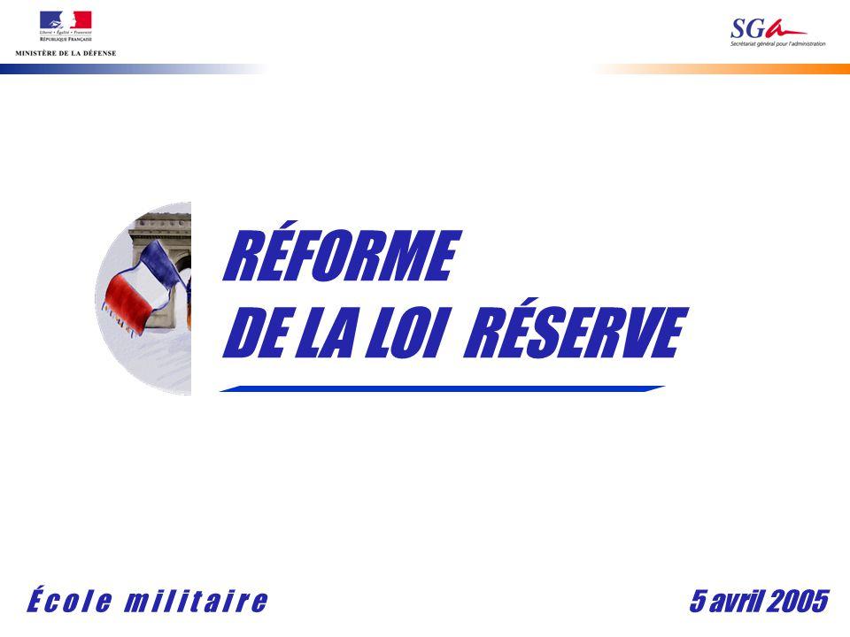 5 avril 2005É c o l e m i l i t a i r e RÉFORME DE LA LOI RÉSERVE